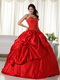 Red Puffy Big Skirt Quinceanera Dress With Embroidery Like Princess