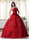 Wine Red Dress For Girls Quinceanera Wear With Embroidery Like Princess