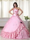 Baby Pink One Shoulder Long Big Puffy Skirt Quinceanera Dress Like Princess