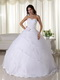 Sweetheart White Organza Quinceaneara Dress With Applique Like Princess