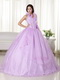 Lilac Halter Ruffle Puffy Quince Dress With Embroidery Like Princess