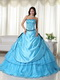 Aqua Blue Embroidery Quinceanera Dress With Handcrafted Like Princess