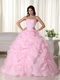 Strapless Ruffles Skirt Puffy Pink Quince Dress With Beading Like Princess