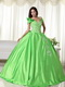 Spring Green Detachable Off Shoulder Straps Puffy Gowns Like Princess