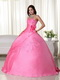 Pink Strapless Handmade Flowers Back Lace Up Quince Dress Like Princess