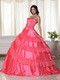 Coral Pink Strapless Embroidered Quinceanera Puffy Skirt Like Princess