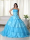 Cheap Aqua One Shoulder Layers Skirt Dress For Quinceanera Like Princess