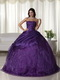 Nice Dark Purple Organza Quinceanera Gown With Embroidery Like Princess