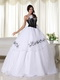 Black Bodice Strapless White Skirt Organza Dress For Quince Like Princess