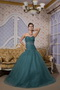Peacock Green Sweetheart Puffy Skirt Quince Dress For Quinceanera Like Princess