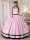 Scoop Neckline Baby Pink Quinceanera Dress With Black Bordure