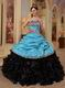 Sky Blue Sweetheart New Arrival Black Quinceanera Dress With Zebra