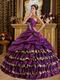 Cheap Purple Quinceanera Gown With Leopard Print Cascade Skirt