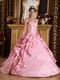 Spaghetti Straps Pink Quinceanera Dress With Applique