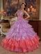 Lilac And Hot Pink Contrast Color Fashion Halter Quinceanera Dress