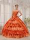 Orange Taffeta Layers Skirt Quinceanera Dress To 16th Girls