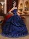 Dark Blue Puffy Sweetheart Quinceanera Dress With Applique