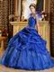 Royal Blue Floor-length Quinceanera Dress With Spaghetti Straps