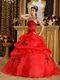Pretty Scarlet Quinceanera Dress With Black Embroidery