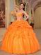 Orange Ball Gown Sweetheart Style Puffy Dress For Cheap