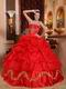 Scarlet Red Skirt With Petticoat Quinceanera Dress Supplier