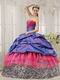 Exclusive Strapless Floor Length Ball Gown With Zebra Fabric