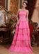 Hot Pink Prom Pageant Dress With Lace Cascade Skirt