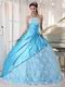 Bright Sky Blue Strapless Lace Quinceanera Dress