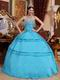 Deep Sky Blue Quinceanera Gown Looks Very Puffy