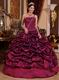 Single One Shoulder Quinceanera Military Dress In Burgundy