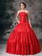 Strapless Wine Red Royal Household Dress Princess Wear