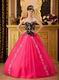 Applique Bodice Sweetheart Hot Pink Petite Quinceanera Dress