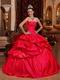 Strapless Bubble Floor-length Scarlet Taffeta Quinceanera Dress