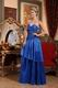 Hot Sell Royal Blue Pleated Floor Length Prom Dress UK
