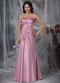 Strapless Rose Pink Prom Dress With Applique Emberllish Inexpensive