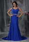 Straps Beaded Ribbon Fishtail Prom Dress In Royal Blue Inexpensive
