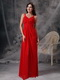 Straps Scarlet Red Chiffon Celebrity Dress Skirt With Split Inexpensive