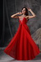 Empire Sweetheart Red Chiffon Evening Dress With Crystals Inexpensive