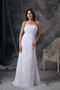 White Chiffon Top Seller Prom Dress With Silver Beading Inexpensive