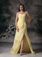 Yellow Chiffon Sweetheart Neck Long Prom Dresses With Split Inexpensive