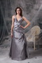 V-neck Floor-length Sliver Taffeta Long Prom Dress 2014 Inexpensive