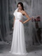 Simple One Shoulder White Chiffon Prom Gowns With Shawl Inexpensive