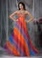 Colorful Straps Floor-length Chiffon Prom Dress Printed Inexpensive