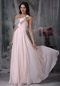 One Shoulder Beading Prom Dress Baby Pink Chiffon Fabric Inexpensive