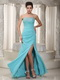 Sweetheart Floor-length Celebrity Dress Made By Light Blue Chiffon Inexpensive