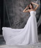 Popular White Chiffon Prom Dress With Silver Beading Decorate Inexpensive