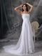 Empire Waist Long White Chiffon Prom Celebrity Dress By Designer Inexpensive