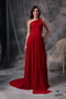 One Shoulder Wine Red Chiffon Top Seller Prom Dress Gown Inexpensive