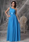 Right Shoulder Sky Blue Chiffon Long Prom Dress For Sale Inexpensive