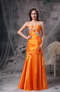 Sweetheart Orange Taffeta Prom Dress With Appliques Inexpensive